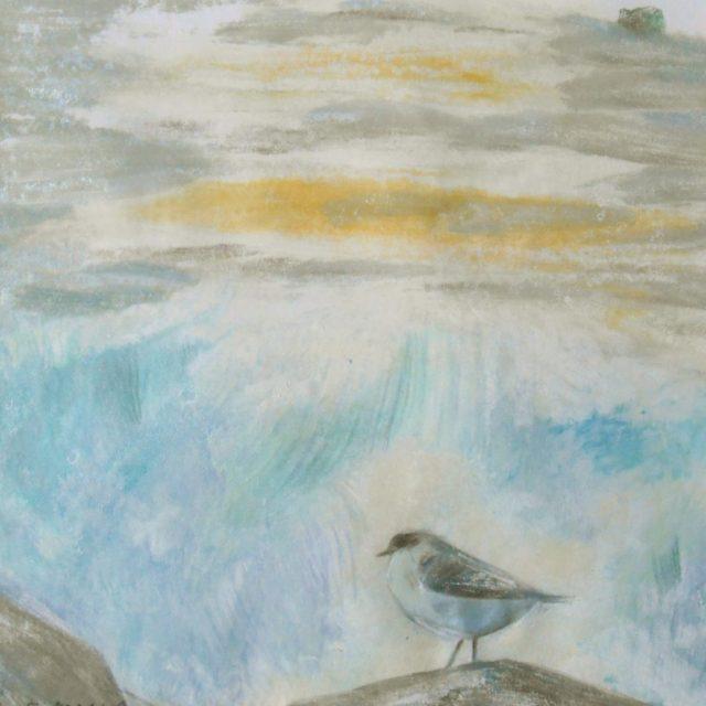 monoprint - standing bird